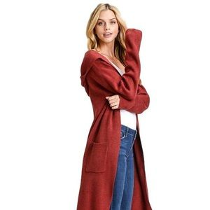 Sweaters - Long Hooded Cardigan, open-front, pockets, red